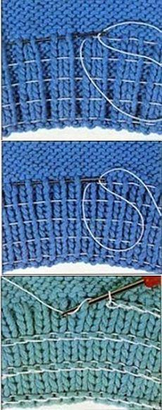Как ввести в вязаную резинку резиновую нить