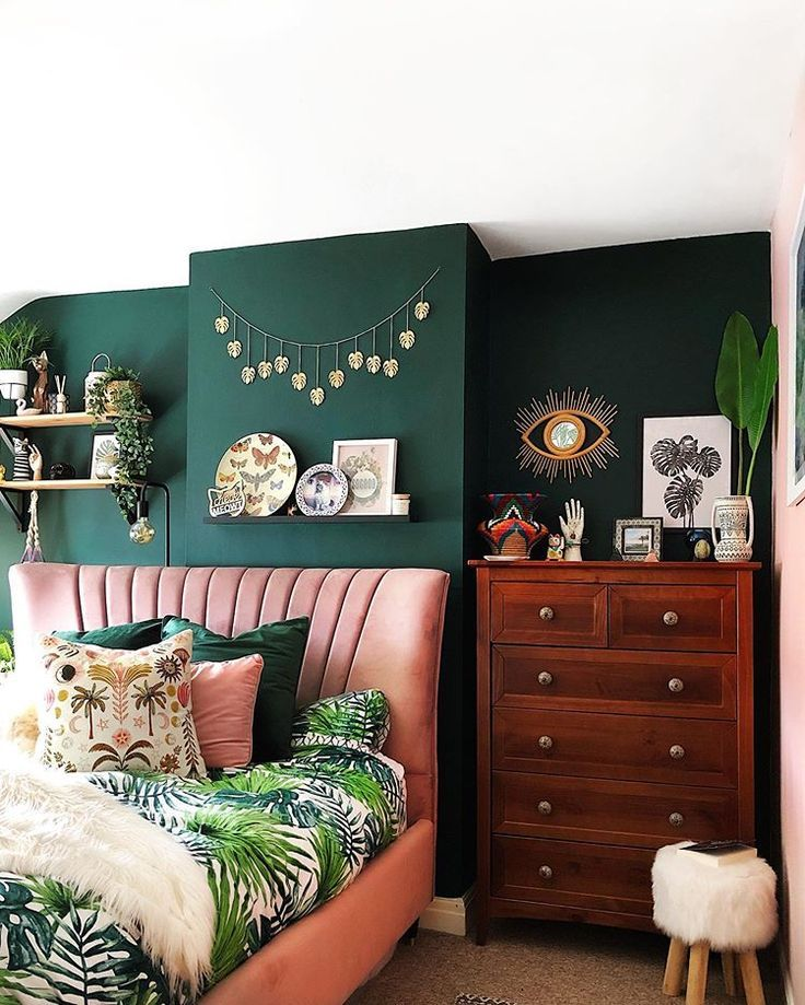 Dark Green Walls Pink Velvet Headboard Botanical Prints And Vintage Chest Of Drawers In The Bedroo Green Bedroom Walls Green Bedroom Decor Home Decor Bedroom