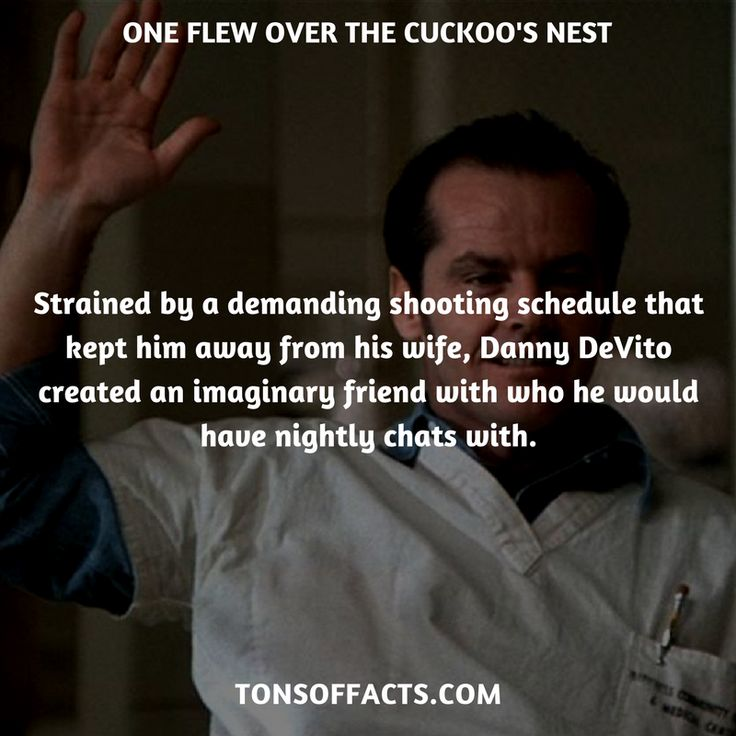 Strained by a demanding shooting schedule that kept him away from his wife, Danny DeVito created an imaginary friend with who he would have nightly chats with. #oneflewoverthecuckoosnest #movies #interesting #facts #fact #trivia #awesome #amazing #1 #memes #moviefacts #movietrivia #oneflewoverthecuckoosnestfacts #oneflewoverthecuckoosnesttrivia