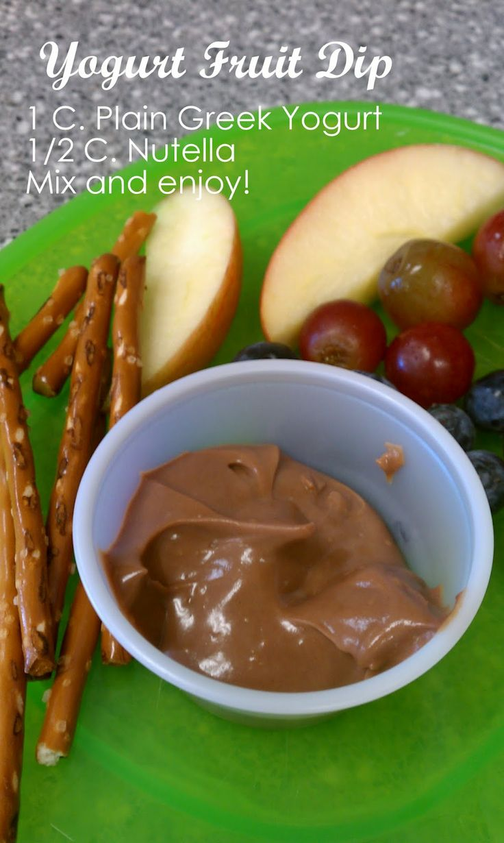 """""""Getting Messy With Ms. Jessi: Healthy Snacks 4 Kids (or you!):Yogurt fruit dip. I've tried this with PB but not yet with Nutella. Yummo!!"""""""