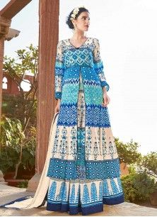 Blue Sensational Print Work Floor Length Anarkali Suit