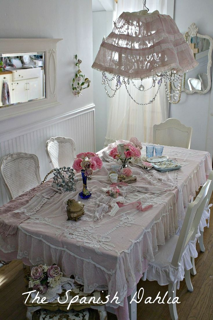 433 best shabby chic images on pinterest home shabby chic style shabby pinks in the dining room from the spanish dahlia