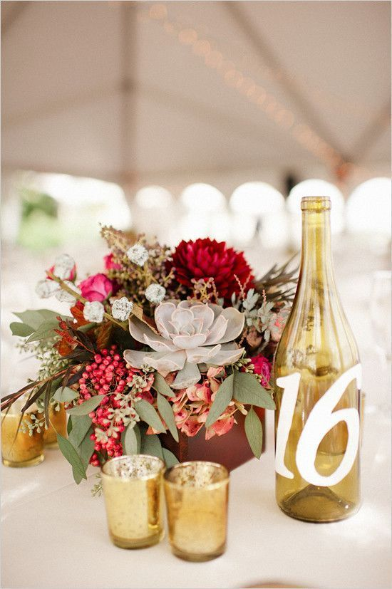 fall wedding centerpiece with table number / http://www.himisspuff.com/rustic-wedding-centerpiece-ideas/3/