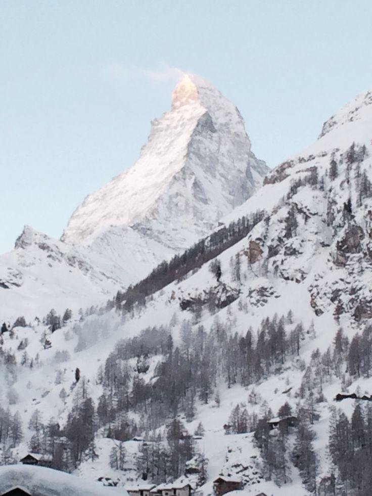 View from our balcony this morning. The Matterhorn. Zermatt