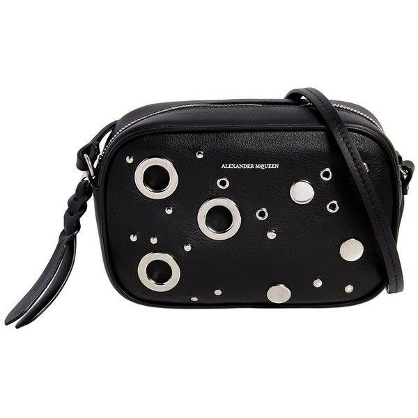 Alexander Mcqueen Women Medium Camera Bag W/ Eyelets (18,575 MXN) ❤ liked on Polyvore featuring bags, handbags, shoulder bags, black, alexander mcqueen, alexander mcqueen handbags, grommet handbags, camera bag and alexander mcqueen purse
