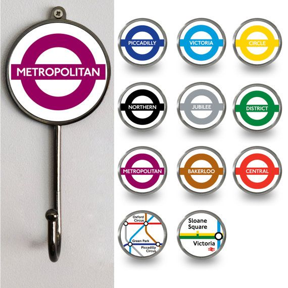 Quirky London underground tube maps wall coat hooks  Mix and match with your favourite tube lines. We also sell these as cupboard knobs.  Great as a