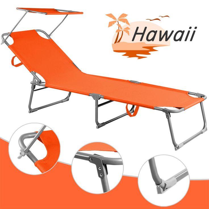 Folding Sun Lounger Steamer Chair Sun Shade Bed Outdoor Garden Loungers  Orange Part 86