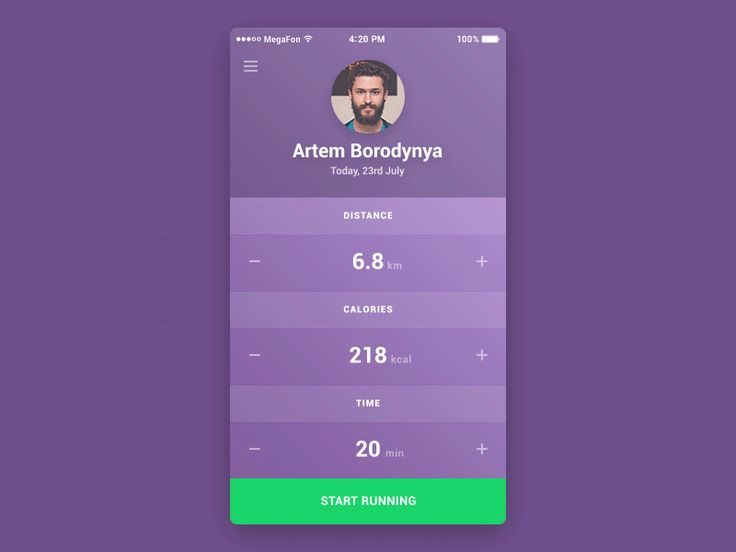 Fitness App, Animation GIF UI/UX