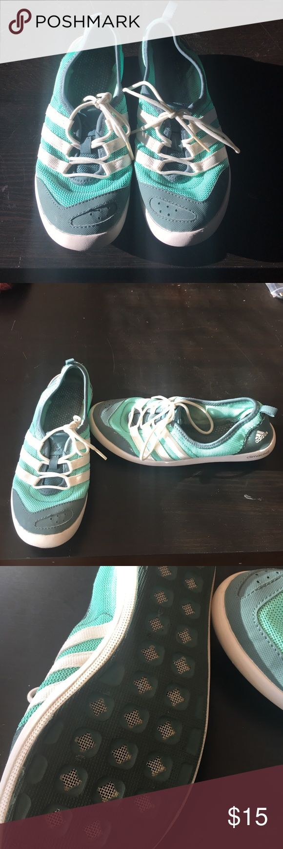 Adidas Boat Shoe Size 7 Adidas boat shoe size 7. Only worn a few times. Great for boating water sports and really comfortable to walk in. They make a good travel shoe for a tropical destination. They are mesh so they breathe well in wet environments . Adidas Shoes Sneakers