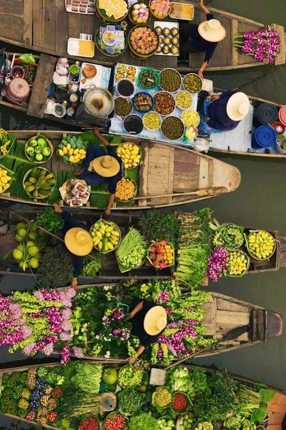 Floating Market - Thailand   - Explore the World, one Country at a Time. http://TravelNerdNici.com
