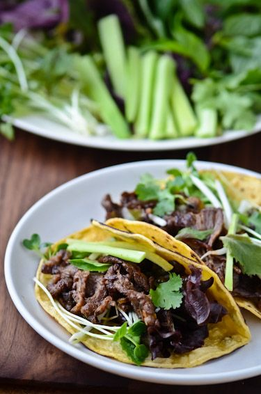 Korean bulgogi tacos - These are the best, of any kind of, tacos I've ever eaten!  Even my picky son couldn't get enough of them! from blissful eats with tina jeffers.