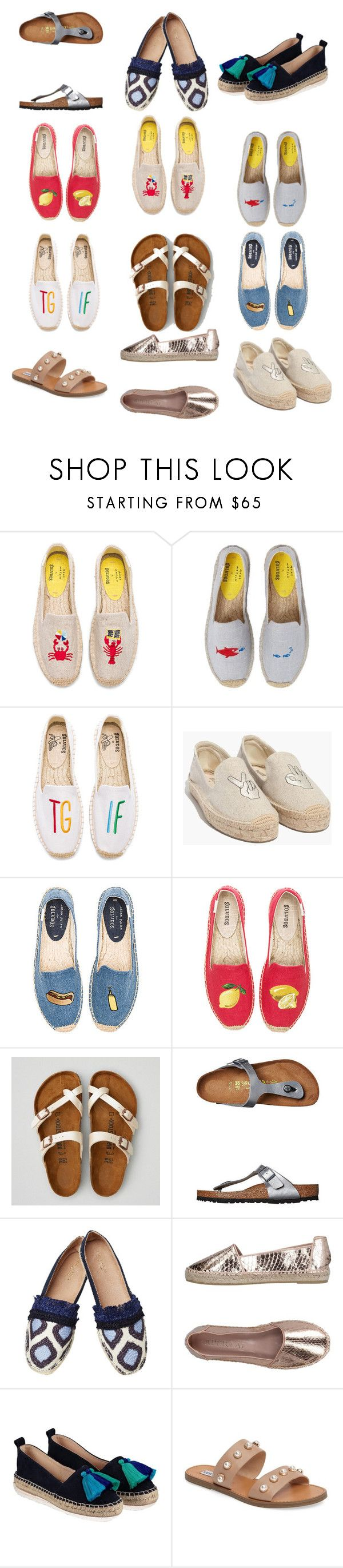 """""""Shoes! We need a little upgrade in the shoe department please!"""" by stylists-1 on Polyvore featuring Soludos, Madewell, American Eagle Outfitters, Birkenstock, Kakao By K, Aperlaï and Steve Madden"""