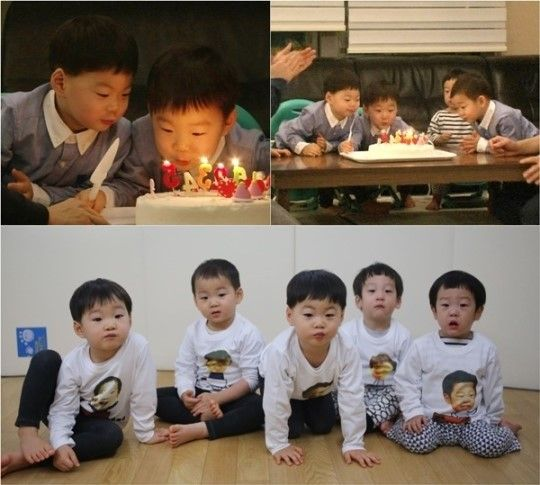 """The Song Triplets (Dae Han, Min Guk, and Man Se) and Lee Twins (Seo Eon and Seo Jun) enjoy a special joint birthday party on """"Superman Returns."""""""