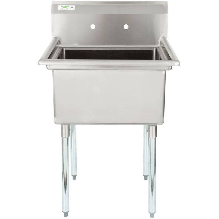 """Regency 28"""" 16-Gauge Stainless Steel One Compartment Commercial Sink without Drainboard - 23"""" x 23"""" x 12"""" Bowl"""