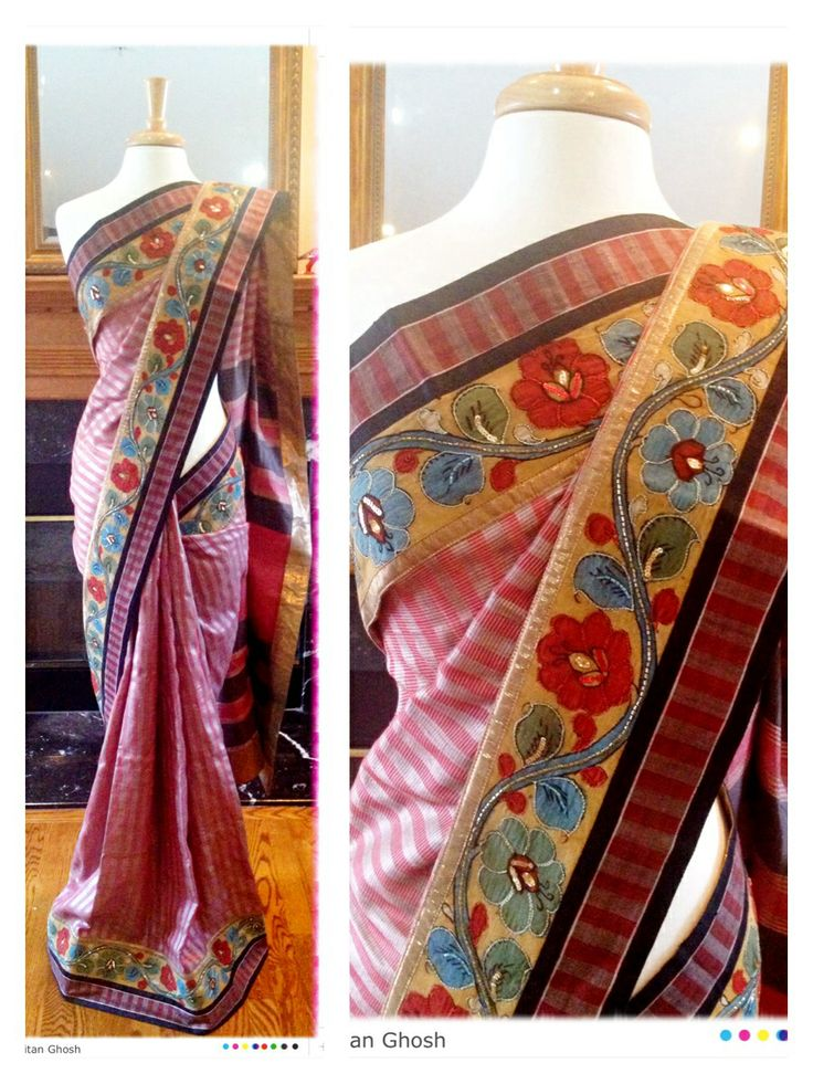 Soft bhagalpuri silk with Kalamkari border.