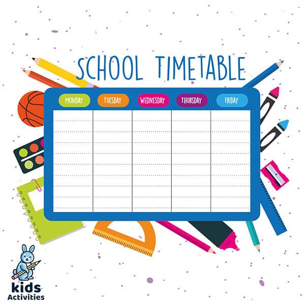 2020 School Timetable Template Free Download Kids Activities School Timetable School Timetable Template Timetable Template