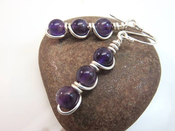 Amethyst earrings   wire wrapped gemstone earrings  purple