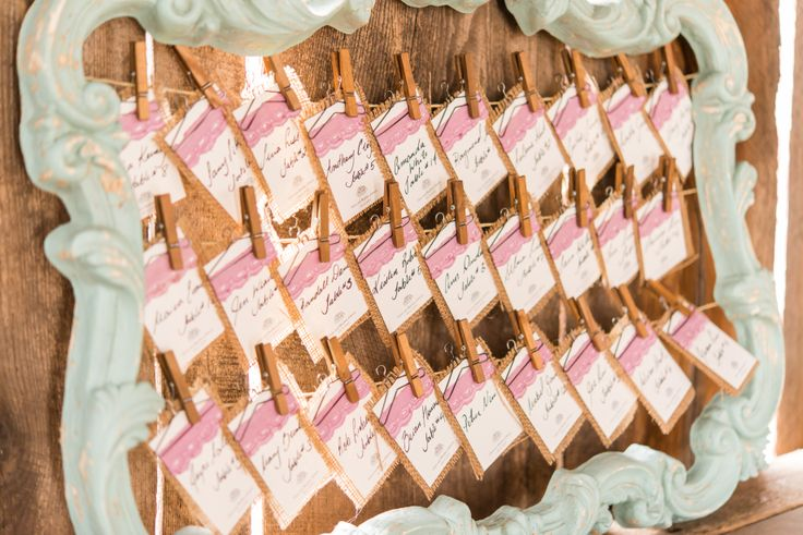 DIY escort cards @ Cambium Farms featured in Weddingstar Magazine.  Creative Production & Styling: Prelude to a Kiss Wedding Stylists & PK Social Events Photography: MugshotsPhotography.ca Dress: Ines Di Santo Makeup: Heather Snowie - Makeup Artist Hair: Sylvie Prud'homme from The Loft - Toronto