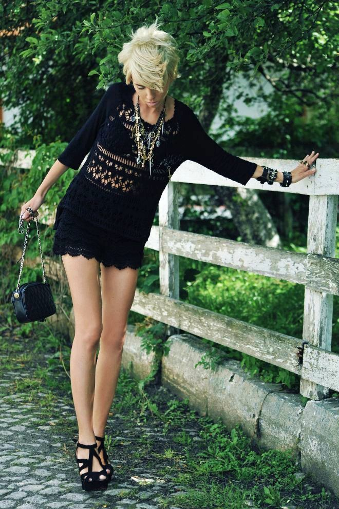 Black Knit dress from ZARA Shoes from ZARA Bag from CHANEL Bracelet H Rings BVLGARI, H, BUY in Saint Tropez Neckles RIVER ISLAND #bagsforsale