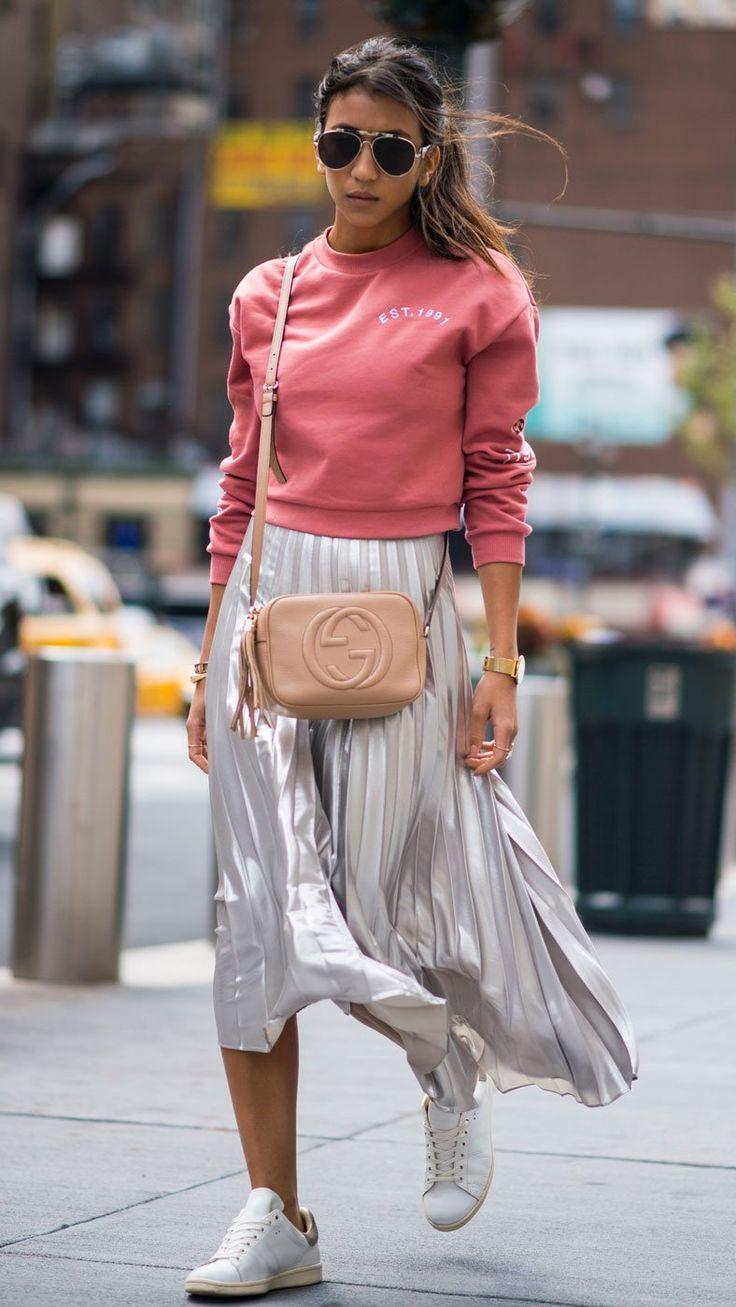 La jupe plissée argentée