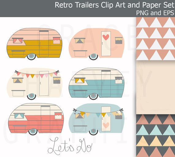 Retro Trailer Camper Clip Art EPS Geometric Digital Paper Pack, Small Commercial Use Instant Download