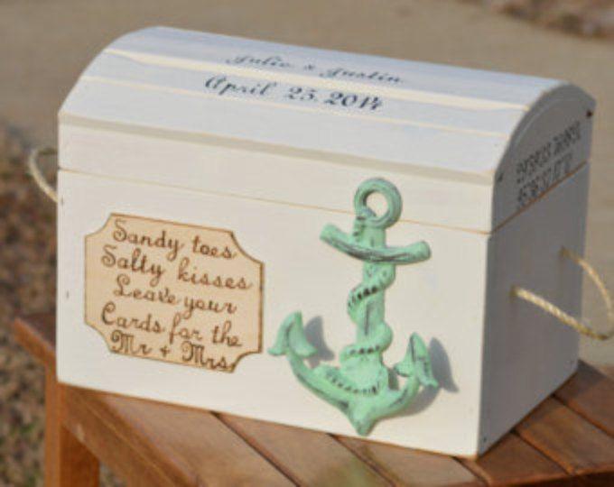 beach wedding card box, nautical card box, seashore wedding decor, personalized coordinates