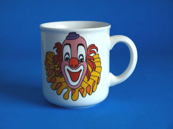 Crown Lynn Clown Mug - Vintage Fun Kitsch Circus Mug - No Clowning Around - Made in New Zealand