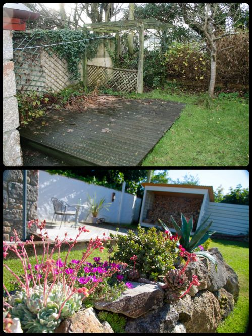 Original rotten old deck, overgrown waste tip, slimy stained wall etc.  We used thoroughseal (waterproof tanking slurry) on the wall.  Stone wall feature made from old pond surround, planted with succulents, hebe, alpines and agave.