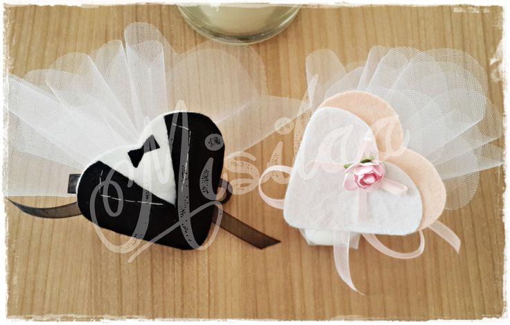 Gelin-Damat Kalp Magnet * Handmade * Nikah Şekeri *Keçe * Felt * Feltro * Keçe Magnet * Wedding * Bride Groom / www.misilaa.com