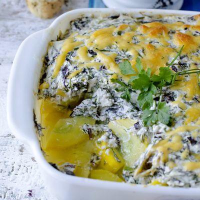 Könnyű spenótos rakott krumpli dupla sajttal