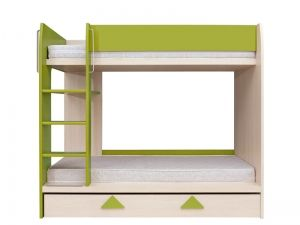 LOZ1S/90P STRZALKA bunk bed. Bunk bed with practical, roomy drawer for bedding and toys. Сreative form of finish. Original handles in colour: uni green peas. Roller guides. Polish Brw Modern Furniture Store in London, United Kingdom #furniture #polish #brw #bed #beds