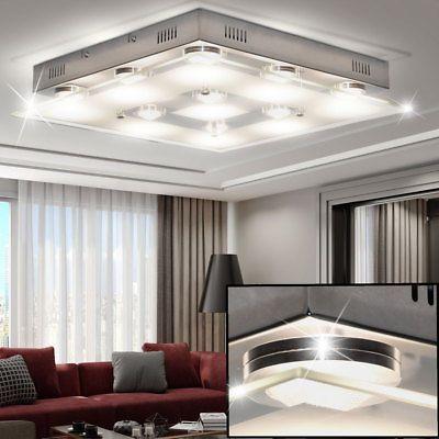 Design LED Decken Leuchte Wohnzimmer Chrom Beleuchtung Glas Lampe Satiniert WOFI LampDecke