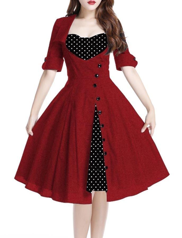 Hier findest du eine vielseitige Auswahl an tollen Kleidern, Teller-und Bleistiftröcken und Oberteilen im Rockabilly- Style!: Liz Dress Red