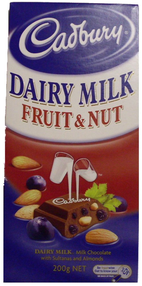 Cadbury Fruit and Nut  Just have to remember not to eat the whole bar at once!  :}