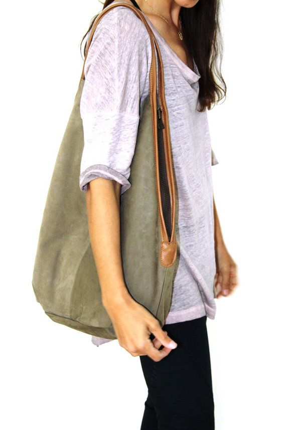 Charley Bag- Soft leather bag - Navy green leather tote bag on Etsy, $275.00