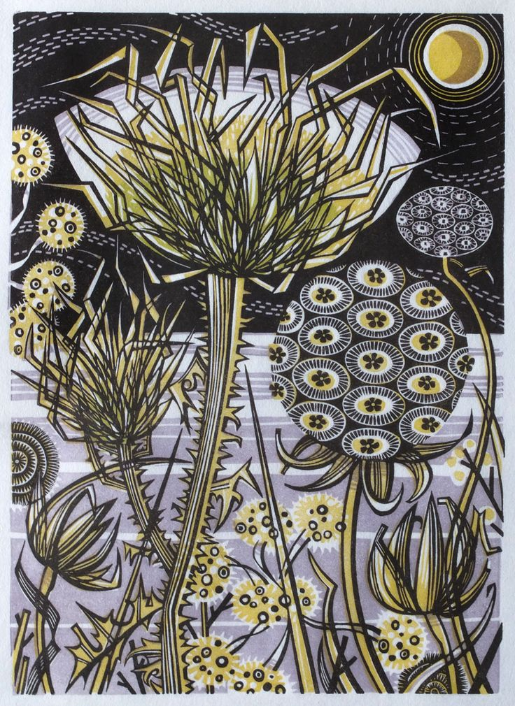 Angie Lewin 'Spanish Seedheads' wood engraving, one of two prints Angie will be exhibiting as part of 'The Masters - Relief Printmaking' at The Bankside Gallery in London which opens early November. Angie had the honour of curating this show, the first in an annual series of exhibitions, each dedicated to a different printmaking medium. The quality of work submitted was impressive and it was a very tough job narrowing down the selection of works from over 1,100 submitted prints.