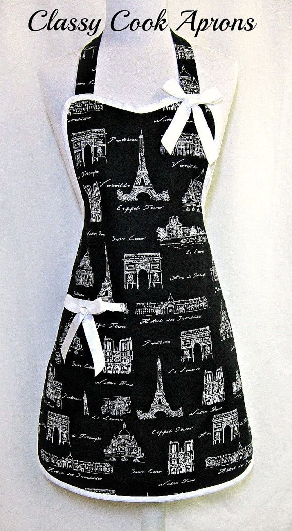 Apron PARIS in BLACK & WHITE, Eiffel Tower, STUNNING Paris Collage, Designer Hostess Party Kitchen Gift, by ClassyCookAprons, $36.50