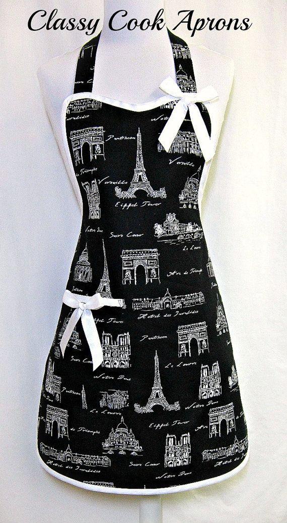 Apron PARIS in BLACK & WHITE, Eiffel Tower, STUNNING Paris Collage, Designer Hostess Party Kitchen Gift, by ClassyCookAprons, $36.50