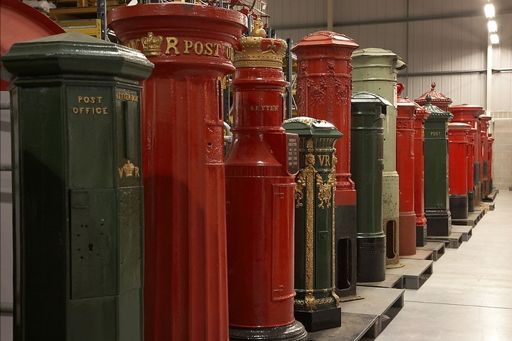 Line of pillar boxes at our Museum Store, Loughton, Essex. You can tour our Museum Store for free, details and bookings at: http://www.postalheritage.org.uk/page/museum-tours