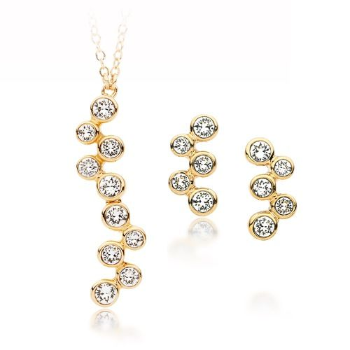 Fidelity Clear Crystal Necklace & Earrings Set Gold Plated
