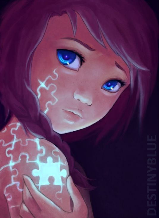 girl with the puzzle piece representing Autism. Girls with autism are so unrecognized it's not funny.