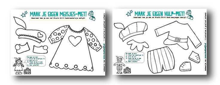 Knutselen voor #sinterklaas met deze Aankleed-pieten van #studiostift! www.studiostift.nl