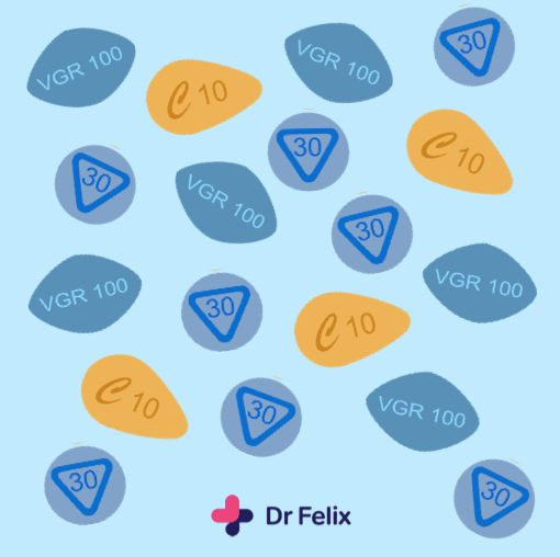 Break the cycle. 25% of men who experience erectile dysfunction are under 40.  Viagra is one of the most commonly counterfeited medications. Accept no imitations. Only take genuine Viagra from a registered pharmacy.  Key to pills: Viagra = blue diamond pill, Cialis = orange pill, Prilgy = round blue pill.  #loveyourbody #loveyourself #loveyoursexualhealth #sexualhealth #sexed #sex #viagra #prilgy #cialis #pills #medication#tablets #medicine #treatment #health #onlinepharmacy #DrFelix