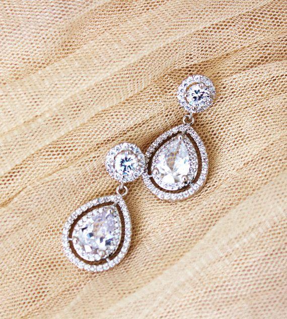 Crystal Wedding Bridal Earrings Statement by DreamIslandJewellery