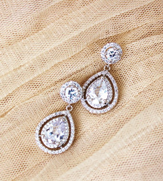 Crystal Wedding Earrings Bridal Jewelry by DreamIslandJewellery