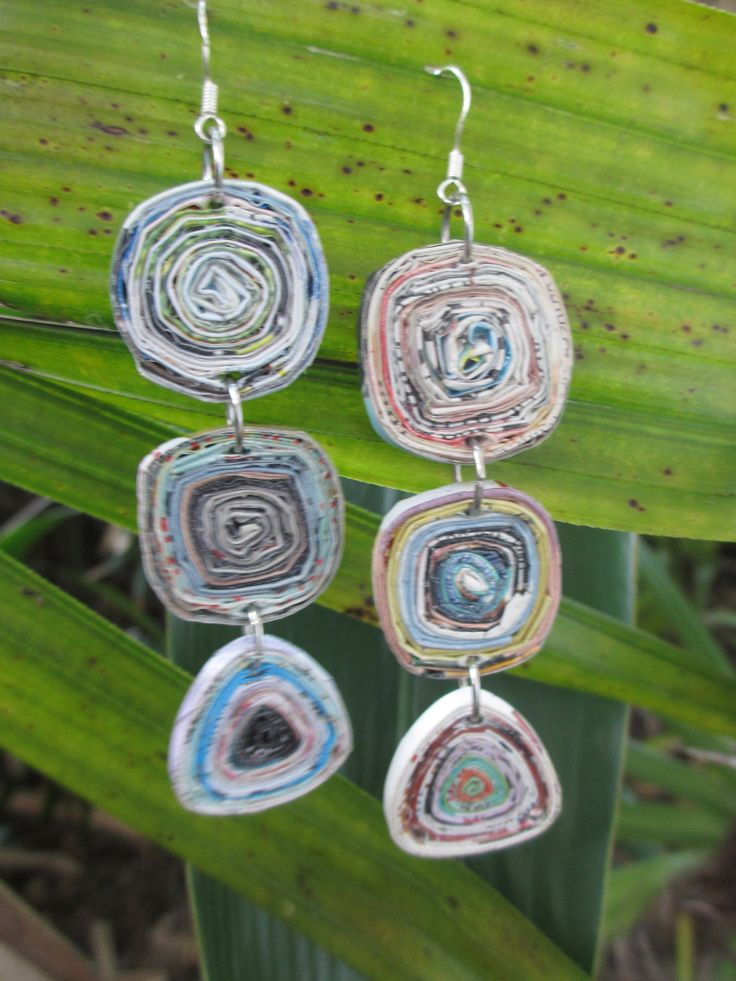 """Recycled Magazine Paper Earrings Long, Light and Colorful! One of Royal Suzie's BEST SELLERS! - Sterling Silver Ear Wires - Approx. 3.5"""" long, 1"""" wide - Made from magazine paper - Free Domestic Shippi"""