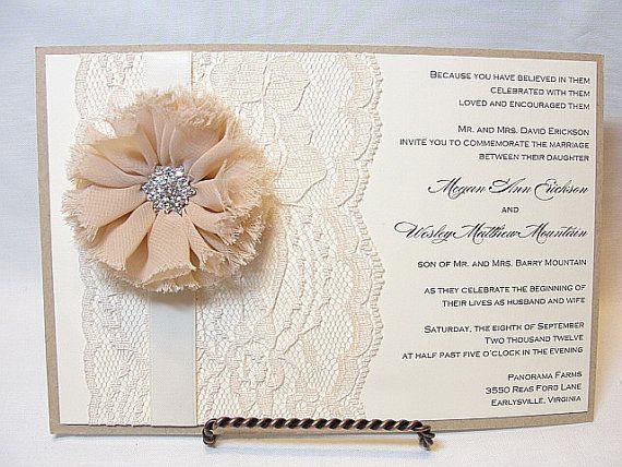ALEXANDRA Lace Wedding Invitation Invite by LavenderPaperie1, $675.00