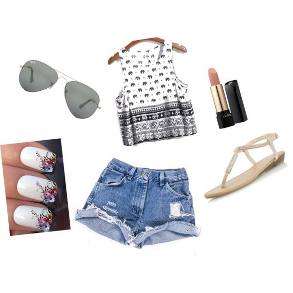 Simple oufit for summer by sostudd on Polyvore featuring Dorothy Perkins, Ray-Ban and Lancôme