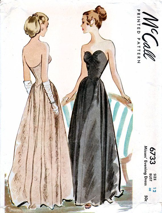 McCall 6733 Vintage 40s Sewing Pattern for Misses' Evening Dress - Size 12…