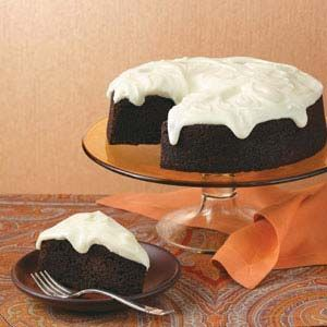 Chocolate Guinness Cake Recipe -One bite and everyone will propose a toast to this moist, chocolaty cake. The cream cheese frosting resembles the foamy head on a pint. —Marjorie Hennig, Seymour, Indiana